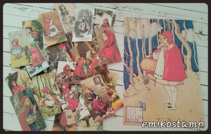 30xLittle Red Ridding Hood,cute Fairy Tale,paper ephemera,Snailmails,Card Making