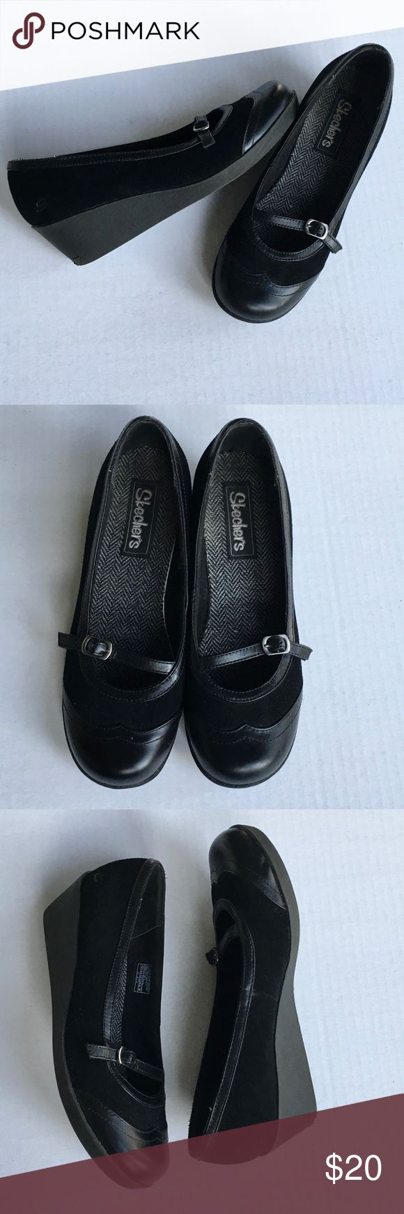 "Black Skechers Low Wedge Suede & Leather Size 7.5 Super versatile, cute low wedge style shoes with a Mary Jane style loafer look. EUC Black Suede and Leather upper with a 2"" wedge. US Women's Size 7 1/2 Skechers Shoes Wedges"