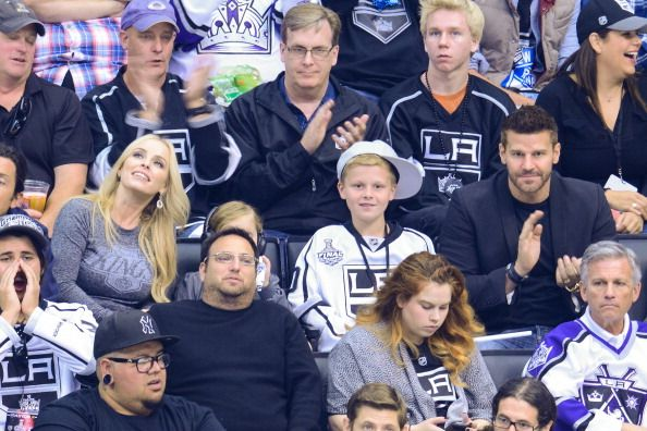 LR Jaime Bergman Jaden Boreanaz and David Boreanaz attends Game One of the 2014 NHL Stanley Cup Final at the Staples Center on June 4 2014 in Los...