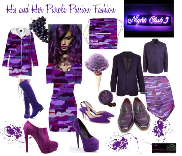 His and Her Purple Passion Fashion including a gorgeous Purple print Bodycon, raincoat and necktie for your date's outfit.