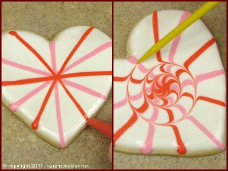 Cookie Projects: Valentine Hearts  I have used many of these techniques, but like the idea to use it in a spiral and, further down, one in a 4-leaf clover arrangement   Cookie decorating www.karenscookies.net