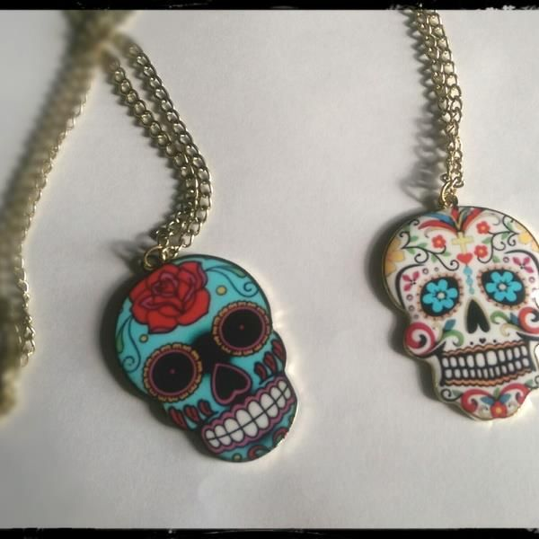 Sugar skull necklace    This super cute necklace is perfect for any age     Shop now @ www.live-love-art.com