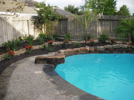 60 best diving rock images on pinterest backyard lap for Simple pool landscaping ideas