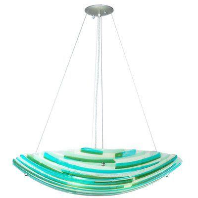 Meyda Tiffany Metro Fusion La Spiaggia Glass 4 Light Inverted Pendant