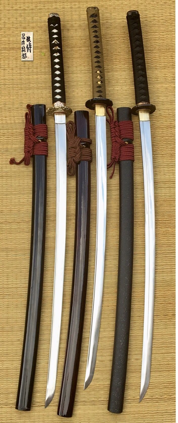 Hand made AISI 1060 steel. Clay tempered shinogui zukuri at left, Razor sharp shinogui zukuri at center and Tameshigiri Unokubi zukuri razor sharp at right. Custom by me.