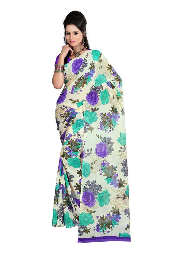 Fabdeal Off white & Purple Colored Dani Georgette Printed Saree