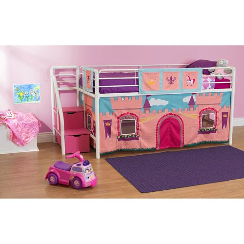 junior twin loft bed with storage steps pink and white 3
