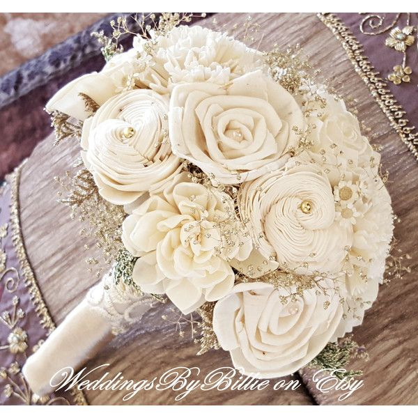 Weddings, Champagne Ivory Sola Bouquet, Wedding Flowers, Rustic... (915 EGP) ❤ liked on Polyvore featuring home, home decor, rustic home decor, rustic home accessories and sola