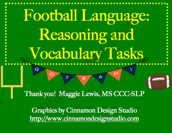 Football Speech Therapy- Reasoning, Language, and Vocabulary product from MaggieSLP on TeachersNotebook.com