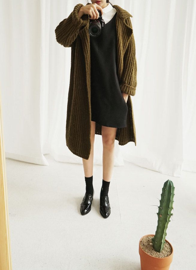 cozy coat, dress & loafers #style #fashion #schoolgirl