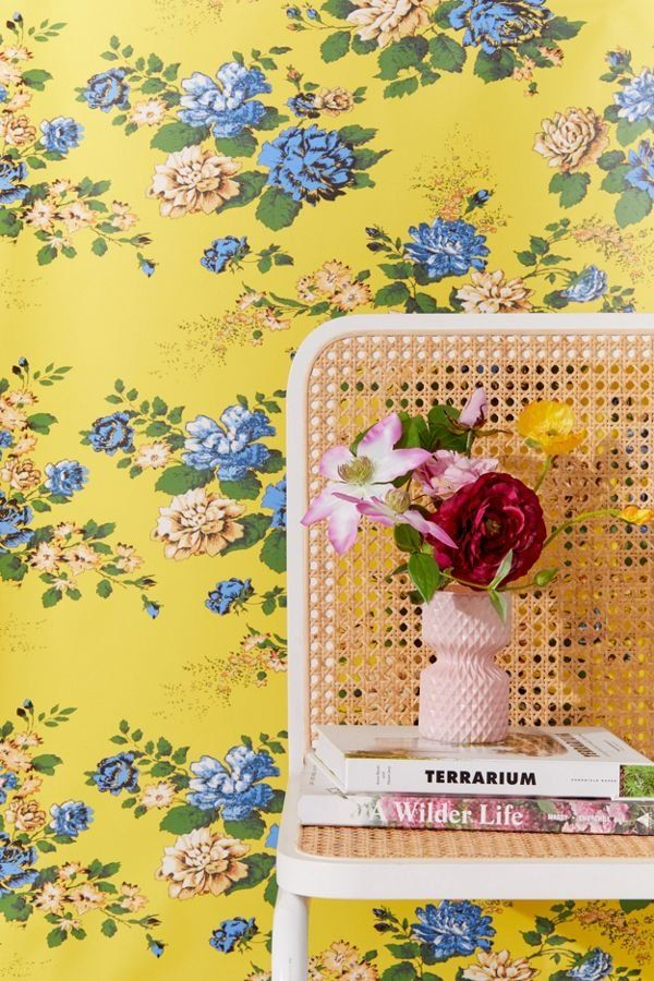 Petra Floral Removable Wallpaper Removable Wallpaper Stick On Wallpaper Urban Outfitters Wallpaper