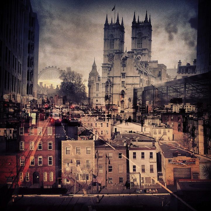 Double exposures combine NYC and London by Daniella Zalcman