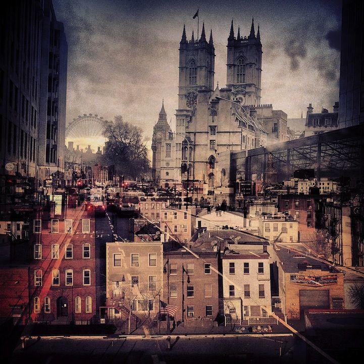 Double exposures combine NYC and London by Daniella Zalcman
