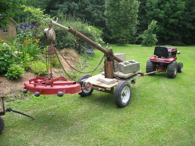 A red square member asked if i would post some more pics of my home made crane,i used an old mortar mixer frame that can hold alot of weight.It is a chain p...