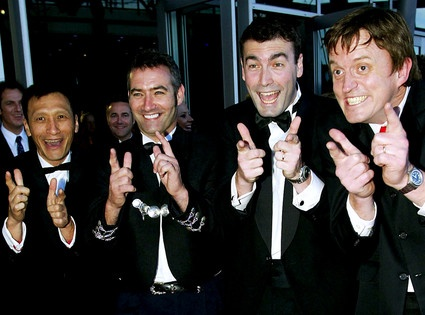The Wiggles. Not ashamed that I like the Wiggles!  And may I say they look good in tuxes...