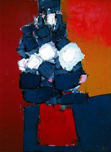 """Nicolas de Staël - Artist XXè - Abstract Art - """"Flowers in a Red Vase (Fleurs dans un vase rouge)"""" 1954"""