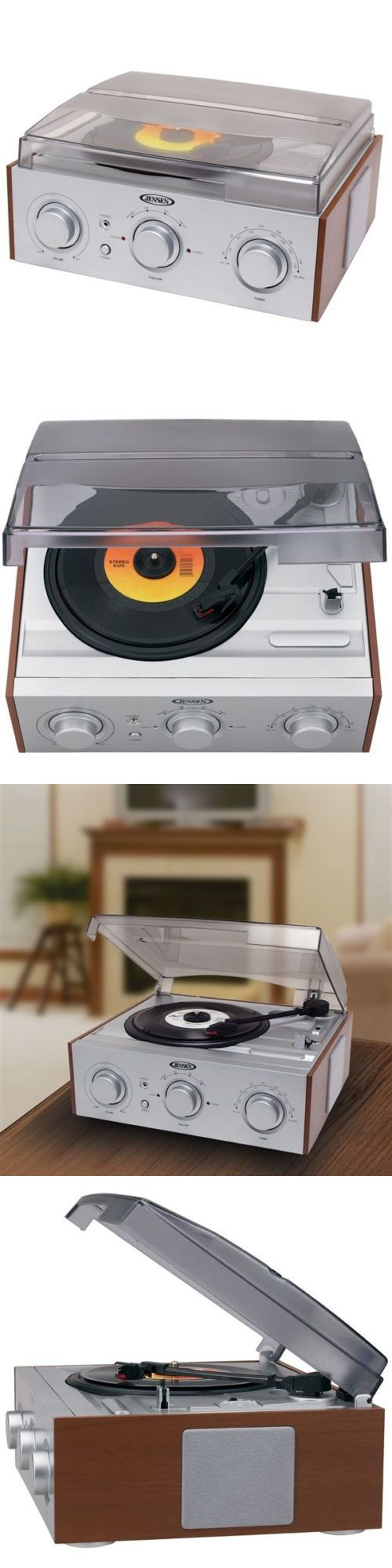 Record Players Home Turntables: Jensen Jta-220 3-Speed Am/Fm Stereo Turntable Record Player W/ Built In Speakers BUY IT NOW ONLY: $47.95