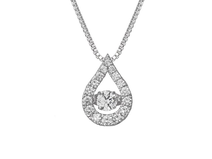 A Drop Shaped 18ct White Gold and Diamond Halo Pendant