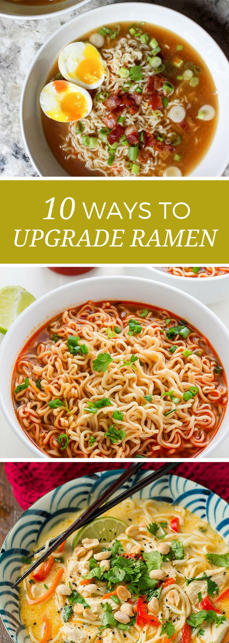 Ramen is the ultimate budget pantry staple. Eating on budget doesn't have to mean sacrificing flavor! Try these 10 twists on traditional ramen.