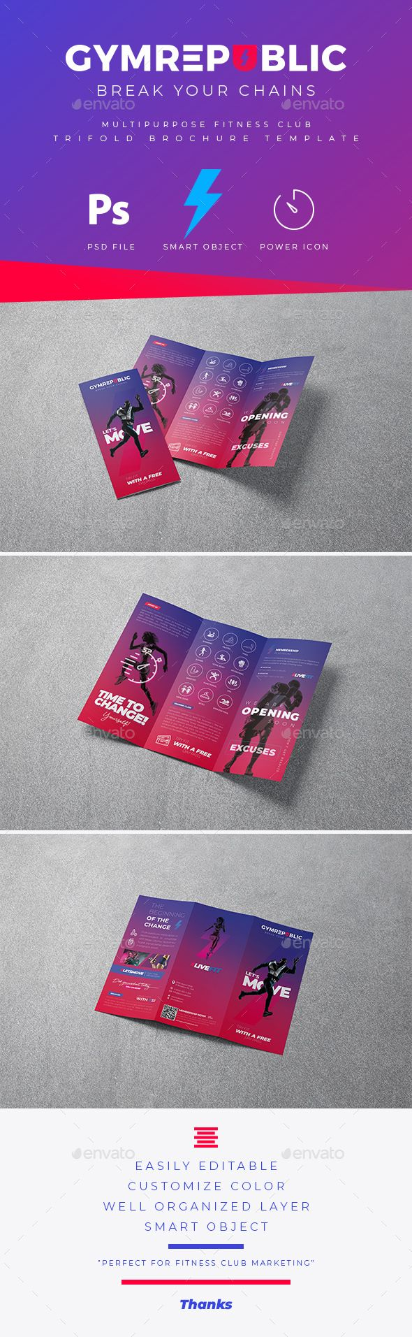 #Fitness #GYM #Trifold #Brochure #Templates - #Sports #Events. Powerful and Creative Fitness GYM trifold brochure templates is a great tool for promoting your fitness club also useful for a fitness studio or a gym. You can use it for fitness club, crossfit, functional training, gym, personal trainer, fitness events, fitness marketing, kickboxing, fitness activities or for membership sales. Fully editable template, you can add images of your choice and change the texts.
