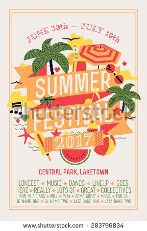 Beautiful summer festival web banner or printable poster template with circle composition of palms, beach items, music notes and more. Ideal for seasonal event announcement or invitation - stock vector
