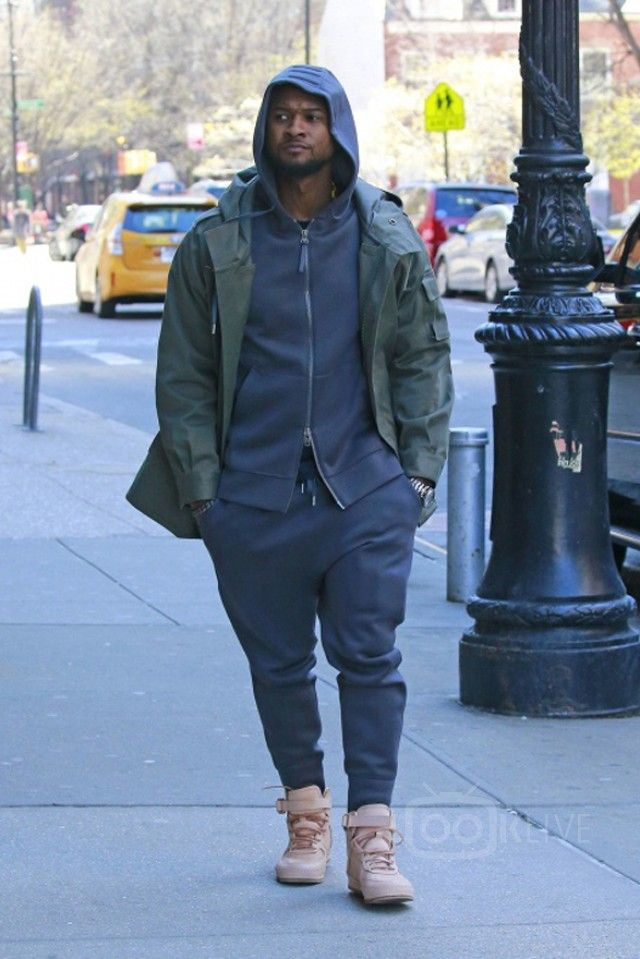 Usher Raymond IV wearing  Helmut Lang Zipped Hoodie, Helmut Lang Grey Knit Lounge Pants, Hender Scheme Air Force 1 High Sneakers