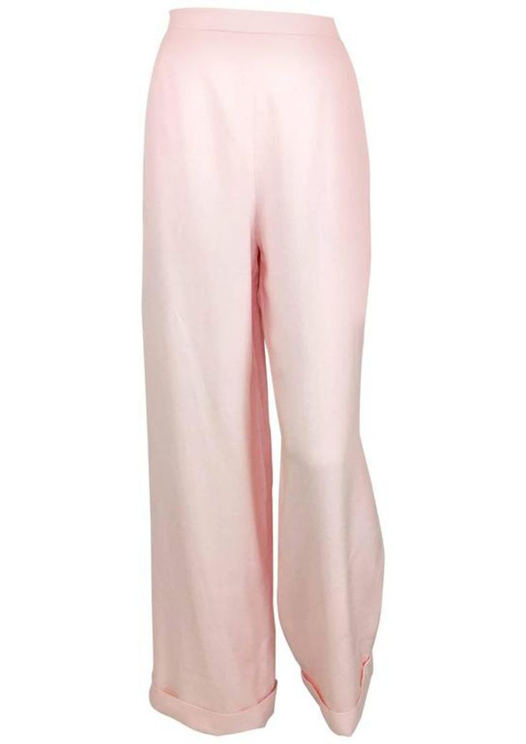Chanel Pale Pink Linen Wide Flared Leg High-Waisted Trousers/Pants - 1990s via House of Pre-Loved - Vintage Boutique. Click on the image to see more!