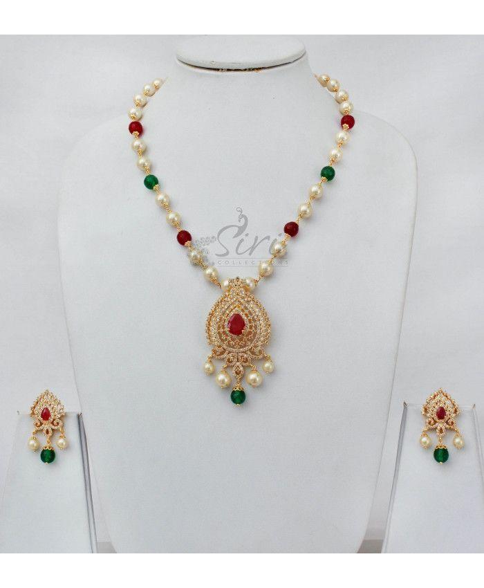 Designer AD pendant South Sea Pearl Necklace Set