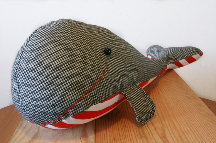 Stuart, the Houndstooth and Red and White Striped Whale Stuffed Animal, Softie, Plushie. $30.00, via Etsy. SOO cute.