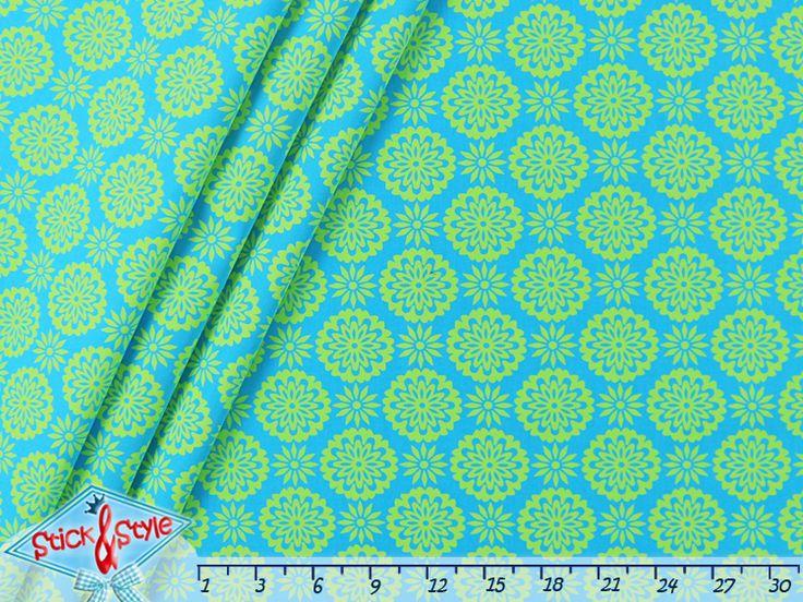 Stoffe gemustert - Stenzo Stoff Mandala Blumen - türkis / hell-grün - ein Designerstück von StickandStyle bei DaWanda