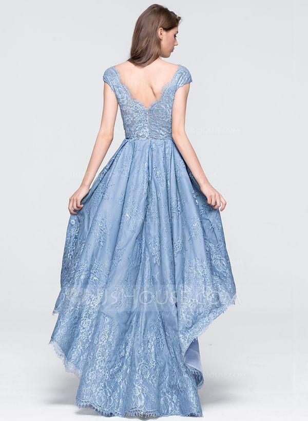 4388d271d1d6 A-Line/Princess V-neck Asymmetrical Tulle Lace Prom Dresses | dạ hội ...