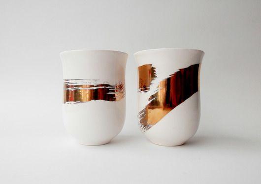porcelana i szkło - kubki i filiżanki-Kubki złotem malowane