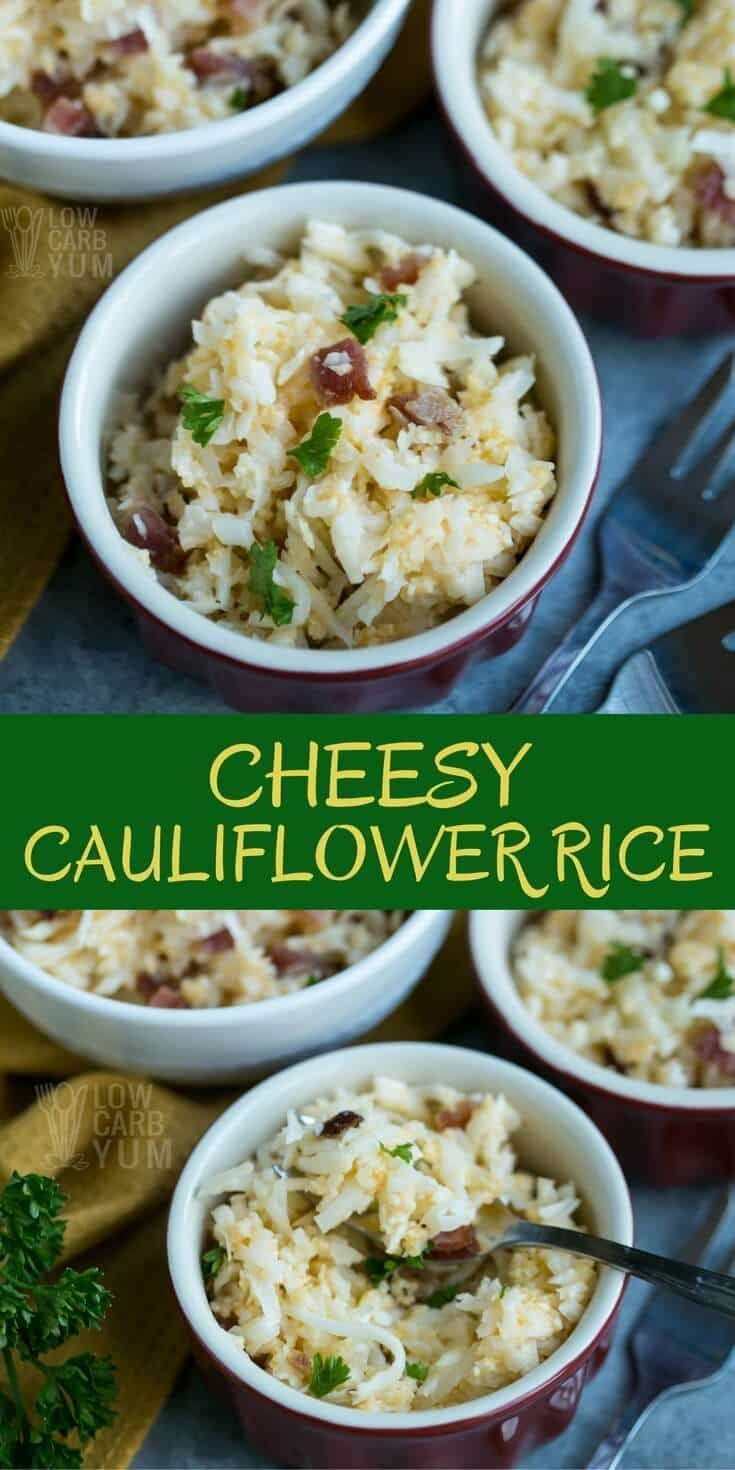 Only five simple ingredients and less than ten minutes are needed to whip up a delicious cheesy cauliflower rice. It makes a perfect keto meal. | LowCarbYum.com via @lowcarbyum