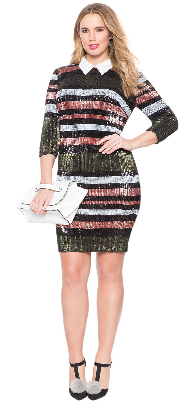 Plus Size Sequin Collared Dress