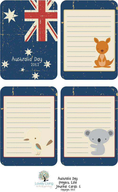 Project Life Australia Day 2012 Journaling Card Printables.  I'm not even Australian, but I might need this just for the cute koala and kangaroo.