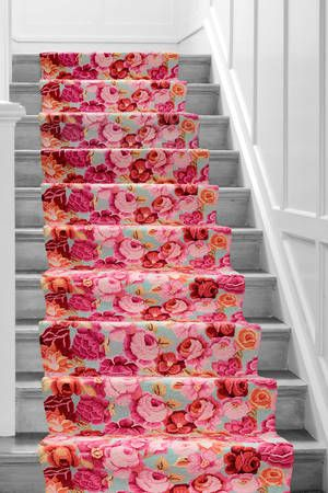 Floral runner rug. i'm finding myself alarmingly attracted to uber-girly french or fifties-style decor.