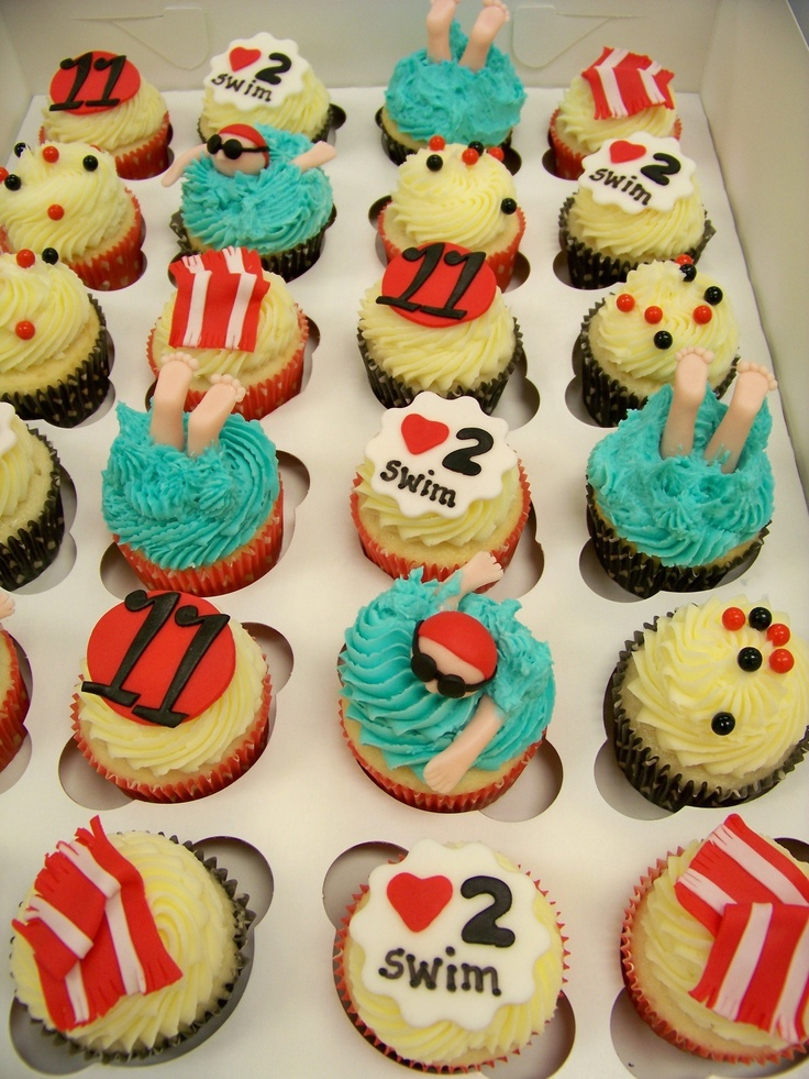 Swimming cupcake