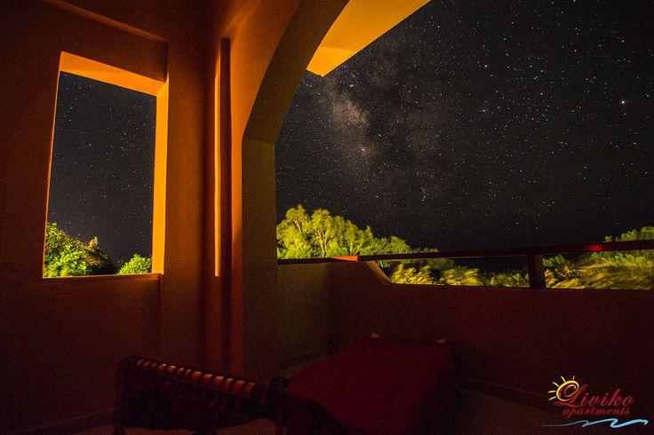 #Night_sky #Balcony_view #Liviko_apartments #All_the_year #Frangokastello #Sfakia #Chania #Crete www.livikoapartments.gr