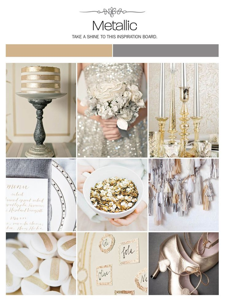 Metallic wedding inspiration board, color palette, mood board via Weddings Illustrated