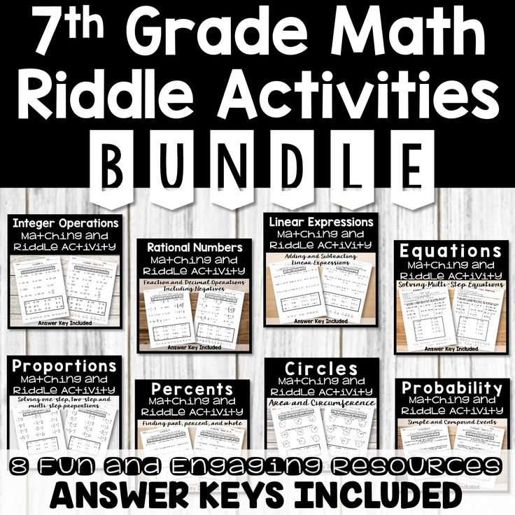 7th Grade Math Riddle Activities BUNDLE from Count On Me