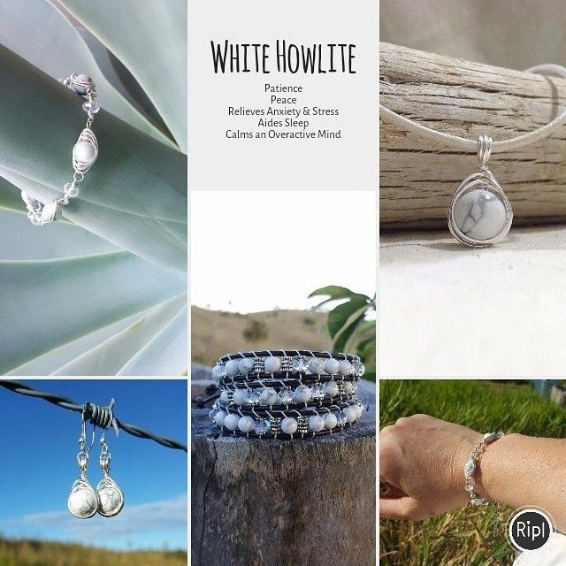 White Howlite. A Peace and patience stone. Aides Sleep, relieves stress & anxiety and calms an over active mind #gemstonehealing #whitehowlite #stressrelief #reduceanxiety
