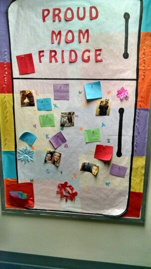 Proud mom fridge. I had my residents post pictures of themselves with other girls on the floor and anything they did that they were proud of. #RAlife #bulletinboard