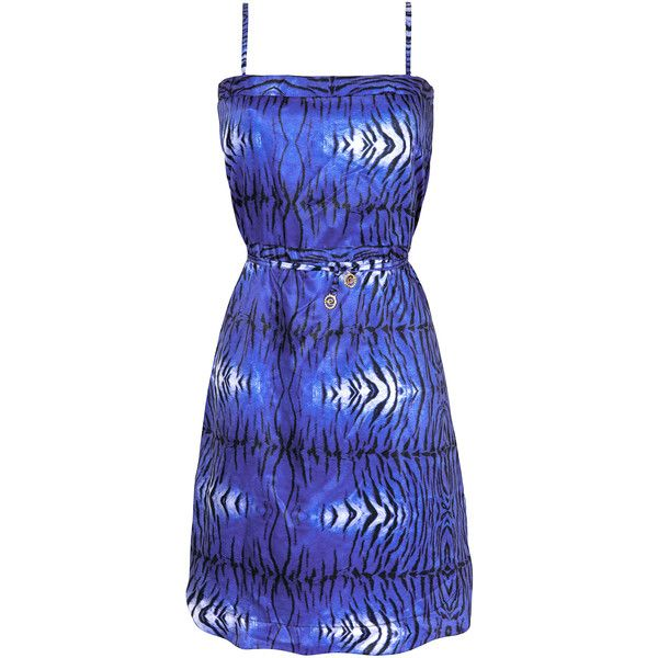 Ellis Beach Wear Short Blue Animal Print Beach Dress - Saida Tigre... ($98) ❤ liked on Polyvore featuring dresses, blue, blue day dress, animal dresses, short blue dresses, blue dress and short dresses