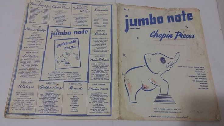 Jumbo Note, Chopin Pieces for ELEMENTARY PIANO - Sheet Music Book 11 Pieces 1949