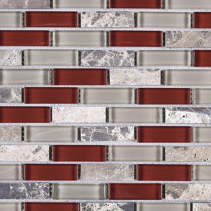 1 X 2 Glass Brick Joint Mosaic Tile Red Backsplash Kitchen Design Small Glass Mosaic Tiles