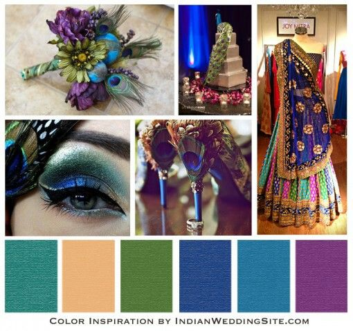 Indian Wedding Color Palette Peacock Green Blue Purple