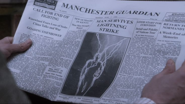 "See the newspaper headline ""Man Survives Lightning Strike"" http://www.alandal.co.uk/TheCreatorFEATURE/TheCreator_Feature.html"