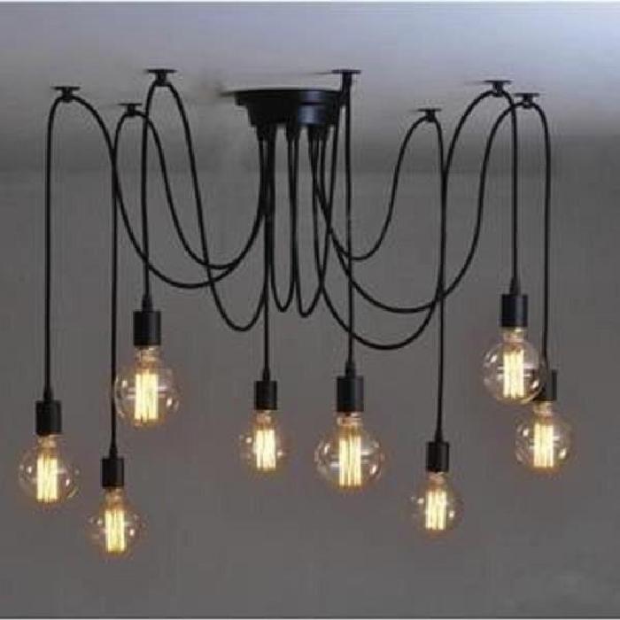 8 Douilles E27 Rétro Lampe De Plafond Plafonnier Suspension Lustre Luminaires Élégant Design Industriel Pendante Lustre:Taille de la plaque de plafond:20 * 20 * 5 cm (L * W * H);Style:vintage/rétro;Craft:Matte;Des lignes épurées,le meilleur pour votr #LampSuspension