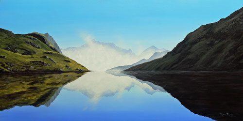 Hinapouri Tarn, Nelson Lakes, NZ (photo courtesy Paul Knox) by Ruth Reid Print ~ Various sizes x