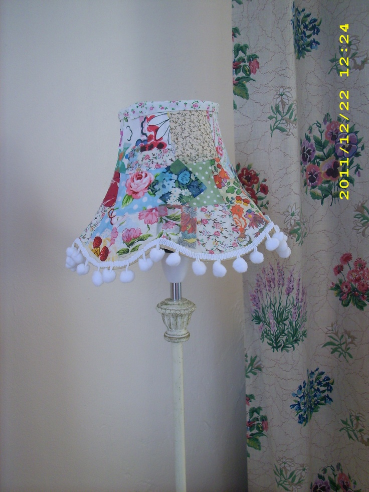 DIY Patchwork Lampshade: Using fabric scraps & mod podge. These started out as old cream lampshades.
